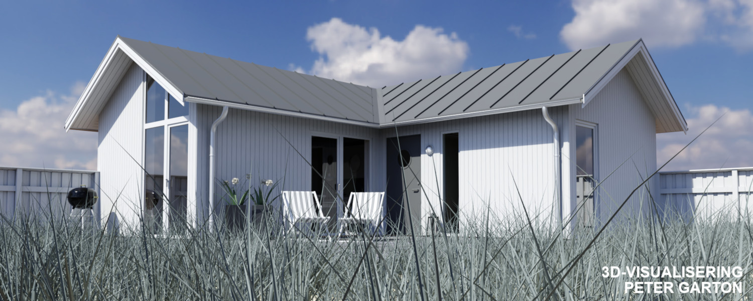 3D-visualisering villa vid havet med Blender